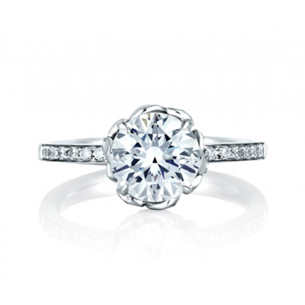 Art Crafted Floral Engagement Ring Side Stones