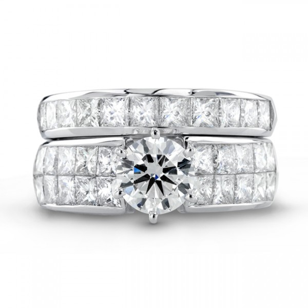 Uneek 18K White Gold Princess-cut Diamond Engagement Ring With Matching Band SM388