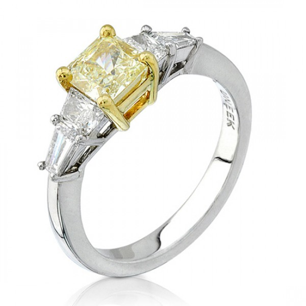 Natureal Collection Platinum and 18K Yellow Gold Princess-Cut Yellow Diamond Ring SM442