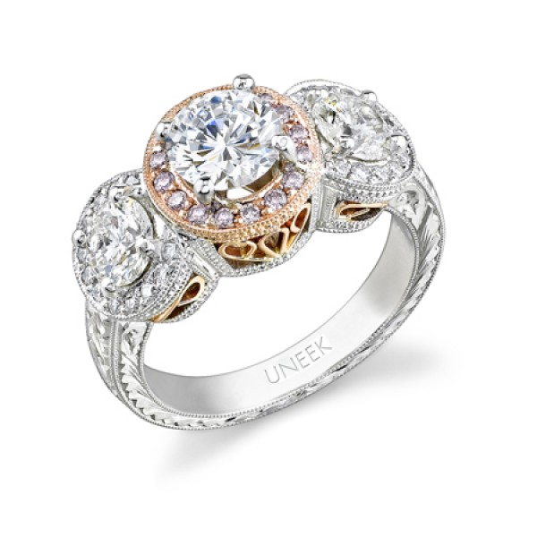 Natureal Collection 18K White and Rose Gold Pink and White Diamond Ring SM667