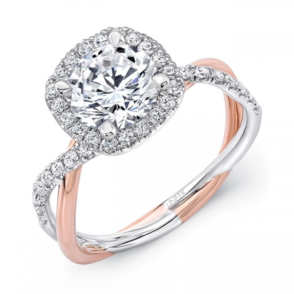 Uneek Round-Diamond-on-Cushion-Halo Engagement Ring with Two-Tone Infinity-Style Crisscross Shank, i