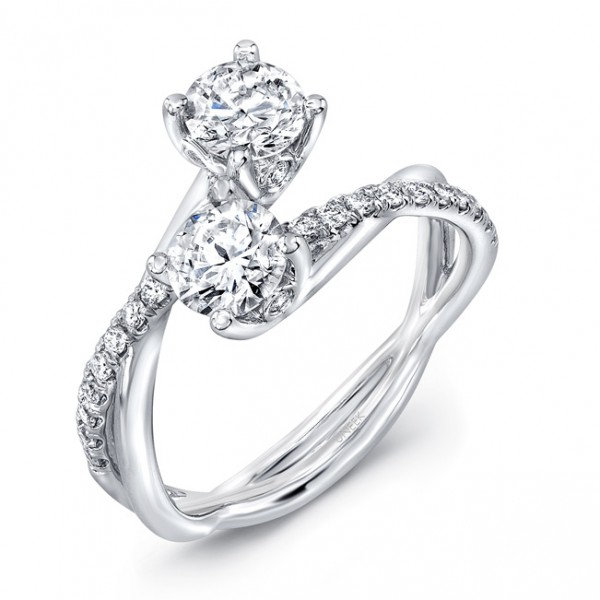Uneek Two-Stone Diamond Ring with Infinity-Style Crisscross Shank