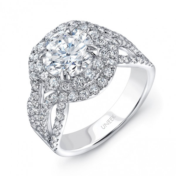Uneek Round Diamond Pave Double Halo Engagement Ring with Ribbon-Style Outer Halo, in 18K White Gold