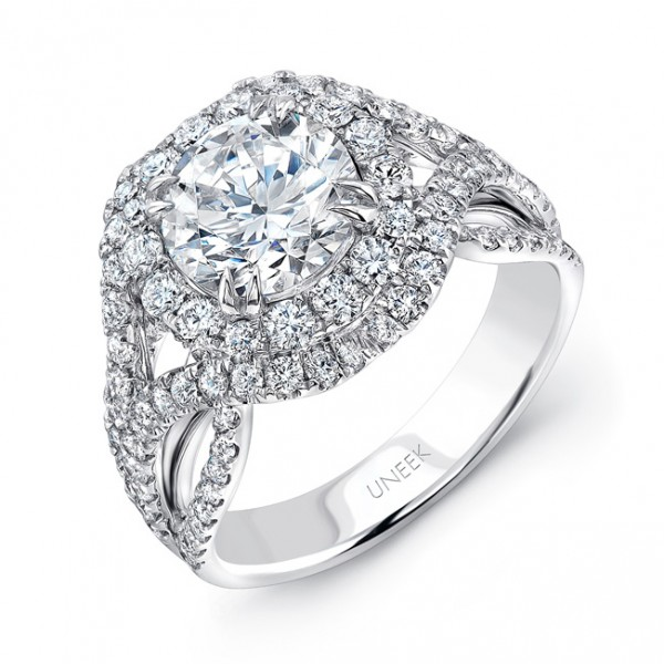Uneek Round Diamond Pave Double Halo Engagement Ring with Intricate Ribbon-Style Shoulders, in 18K W