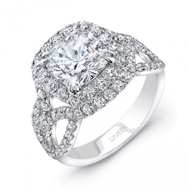 Uneek Cushion-Cut Diamond Pave Double Halo Engagement Ring with Intricate Ribbon-Style Shoulders, in