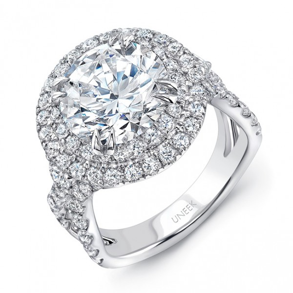 Uneek 4-Carat Round Diamond Pave Double Halo Engagement Ring with Ribbon-Style Shank, in 18K White G