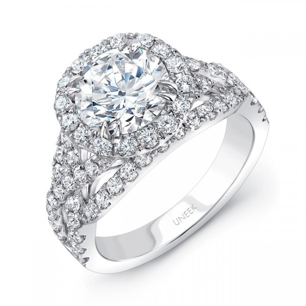 Uneek Round Diamond Halo Engagement Ring with Pave Crisscross Shank, in 18K White Gold