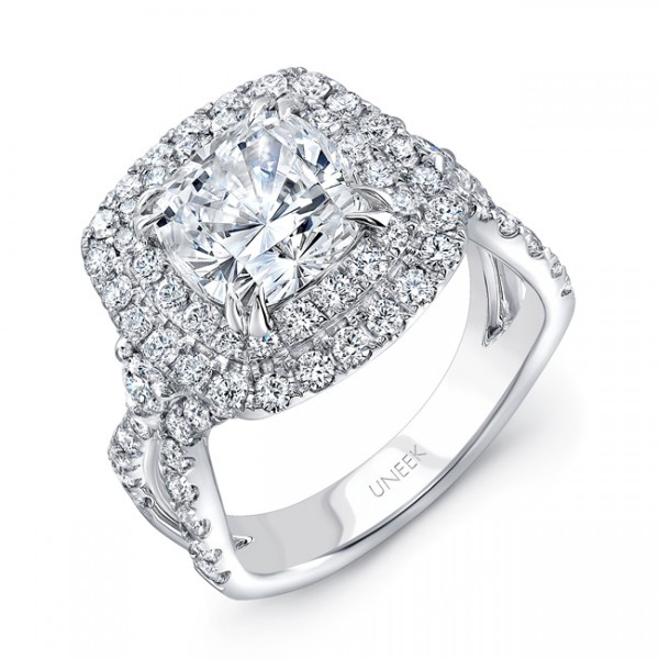 Uneek Cushion-Cut Diamond Pave Double Halo Engagement Ring with Ribbon-Style Shank, in 18K White Gol