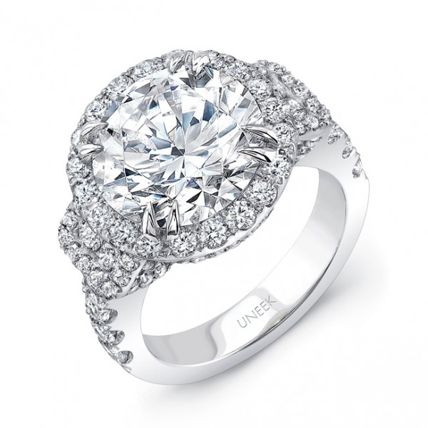 Uneek Round Diamond Halo Engagement Ring with Pave Gallery and Baguette-Shaped Side Stone Clusters,