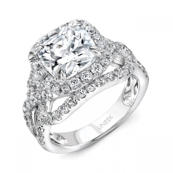 Uneek Cushion-Cut Diamond Halo Engagement Ring with Intricate Openwork Crisscross Shank, in 18K Whit