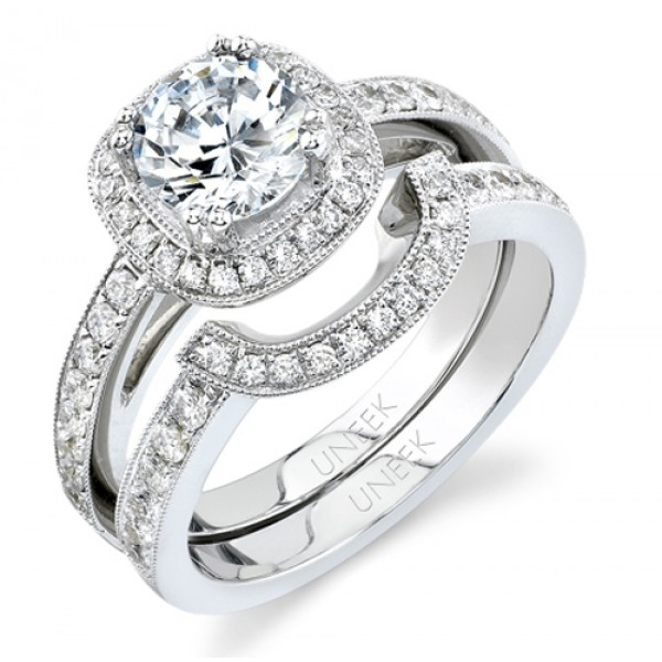 Bouquet Collection 18K White Gold Round Diamond Engagement Ring With Matching Band SW107