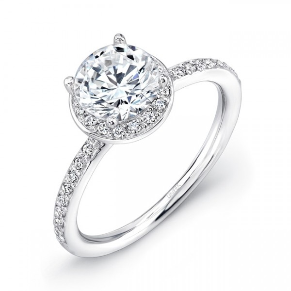 Uneek Classic Round Diamond Halo Engagement Ring in 14K White Gold