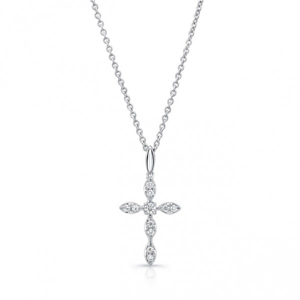 Uneek Petite Cross Pendant with 11 Round Diamonds, in 14K White Gold