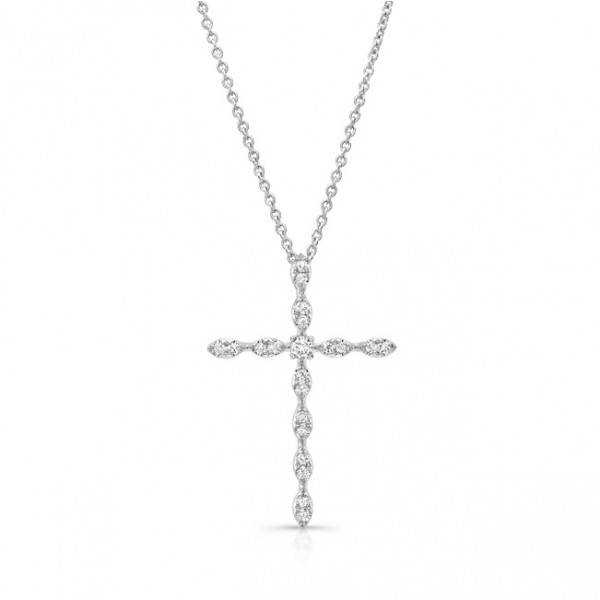 Uneek Skinny Diamond Cross Pendant, in 14K White Gold