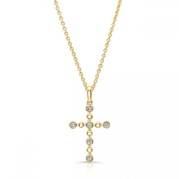 Uneek Petite Cross Pendant with 6 Round Diamonds and Bead Accents, in 14K Yellow Gold
