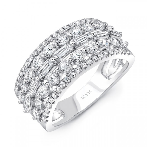 Uneek Baguette and Round Diamond Wide Band, in 14K White Gold