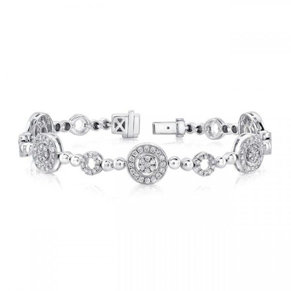 Uneek Diamond Bracelet with Round Halos and Bead Motif, in 14K White Gold