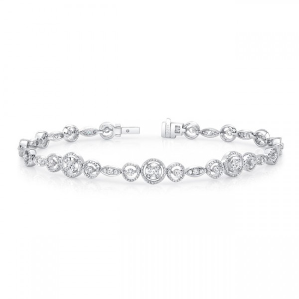 Uneek Round Diamond Bracelet with Mixed-Size Round Bead Milgrain Floating Halo Details and Navette-S