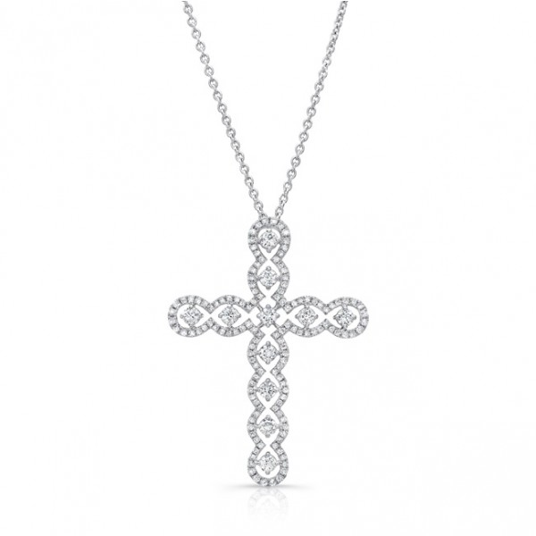 Uneek Openwork Diamond Cross Pendant in 14K White Gold