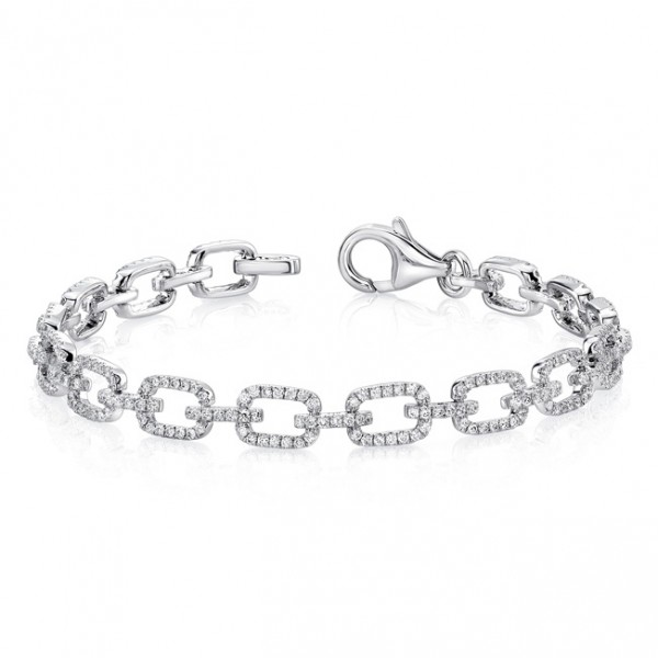 Uneek Pavé Chain Link Bracelet with Rectangular Links, in 14K White Gold