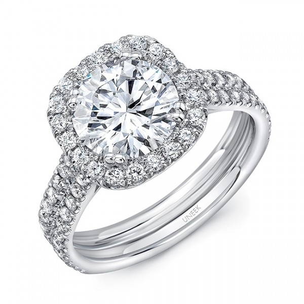 Uneek Round-Diamond-on-Cushion-Halo Engagement Ring with Pavé  Double Shank, in 14K White Gold