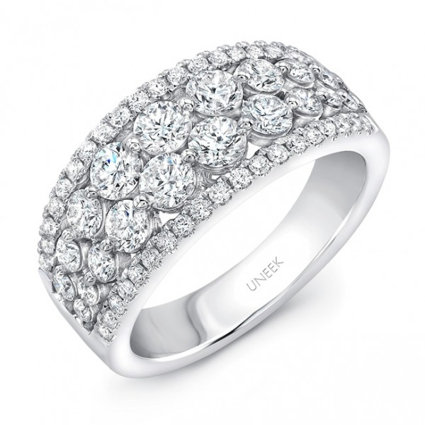 "Uneek ""Frivolité"" 4-Row Diamond Band with Pave Edges, in 14K White Gold"