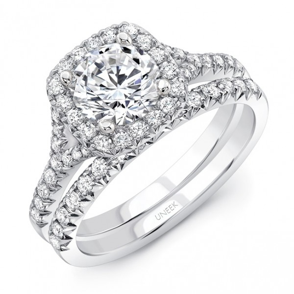 Uneek Round Diamond Engagement Ring with Cushion-Shaped Halo in 14K White Gold, with 14K Rose Gold F