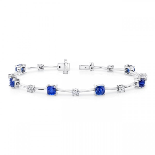 Uneek Cushion-Cut Sapphire Bracelet with Round Diamond Accents, in 18K White Gold LBR191CU