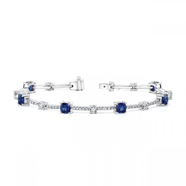 Uneek Cushion-Cut Sapphire Bracelet with Round Diamond Accents, in 18K White Gold