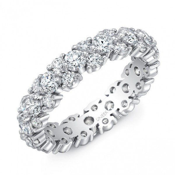 Uneek Mixed-Size Round Diamond Eternity Band, in Platinum