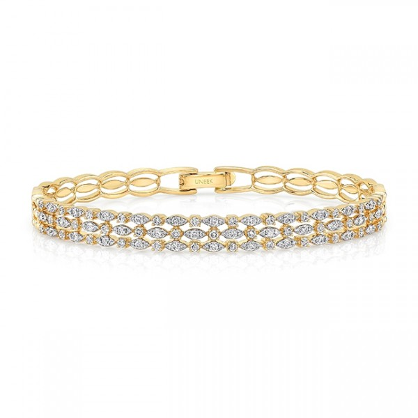 "Uneek ""Fairfax"" Three-Row Stack-Illusion Diamond Bangle Bracelet in 18K Yellow Gold"