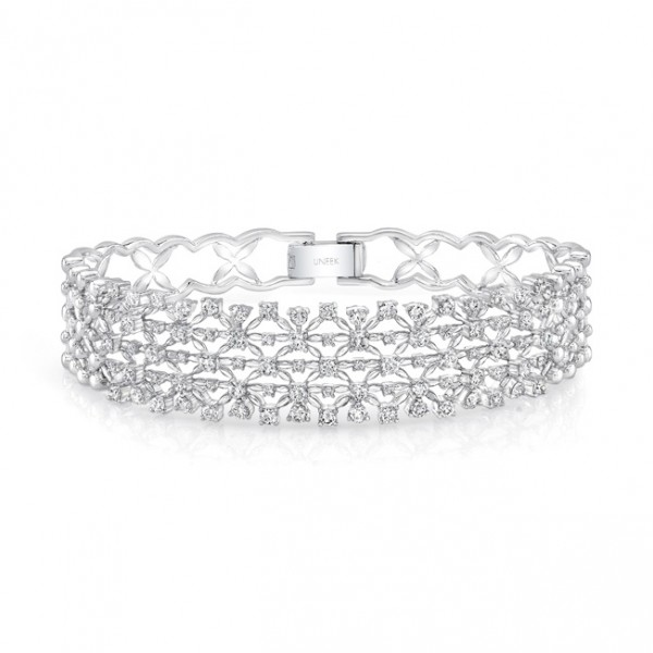 "Uneek ""Point de France"" Open Lace Diamond Bangle Bracelet in 18K White Gold"