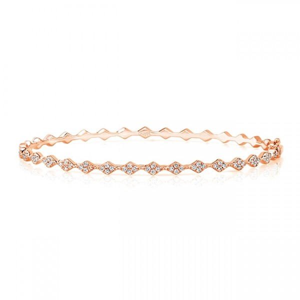 "Uneek ""Mulholland"" Stackable Diamond Bangle in 14K Rose Gold"