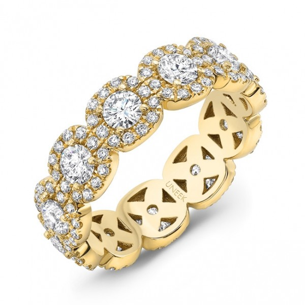 Uneek Round Diamond Eternity Band with Halo Details, in 18K Yellow Gold