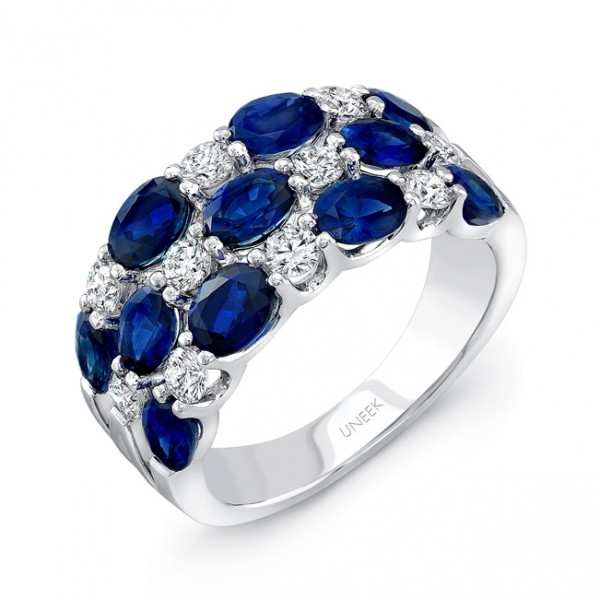 Uneek Three-Row Oval Blue Sapphire and Round Diamond Band, in 18K White Gold