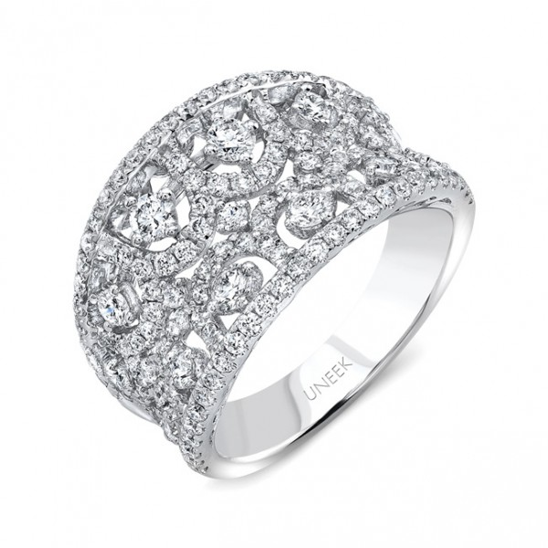 "Uneek ""Le Puy"" Contoured Open Lace Diamond Band in 18K White Gold"