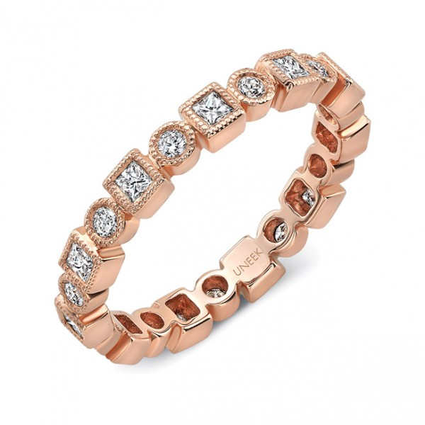 "Uneek ""Broadway II"" Stackable Diamond Band in 18K Rose Gold"