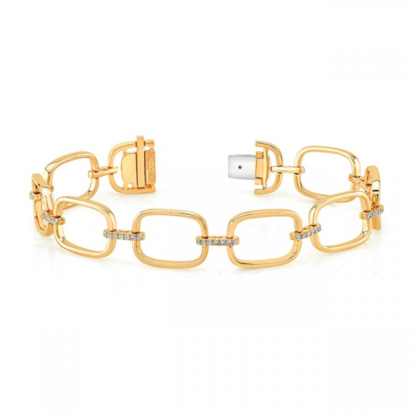 Uneek High Polish Link Bracelet with Pave Diamond Bars, in 18K Yellow Gold