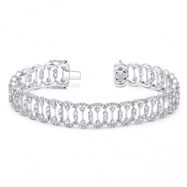 "Uneek ""Coralline"" Open Lace Diamond Bracelet in 18K White Gold"