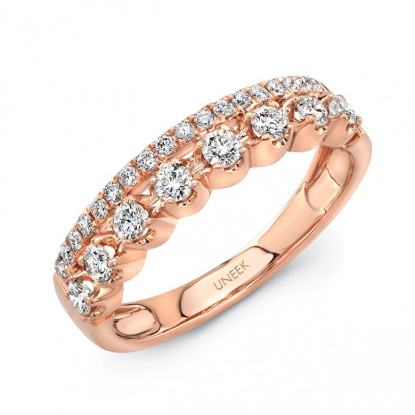 "Uneek ""Arras"" Stack-Illusion Diamond Band, in 18K Rose Gold"