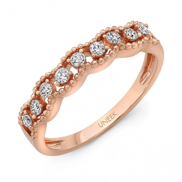 "Uneek ""Borris"" Petite Open Lace Diamond Band in 14K Rose Gold"