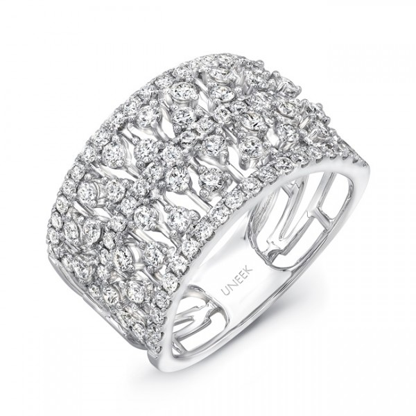 "Uneek ""Coralline II"" Open Lace Diamond Band in 14K White Gold"