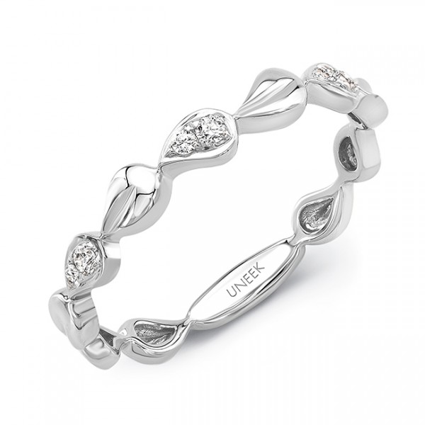 """Uneek """"Heliotrope"""" Stackable Diamond Band in 14K White Gold"""