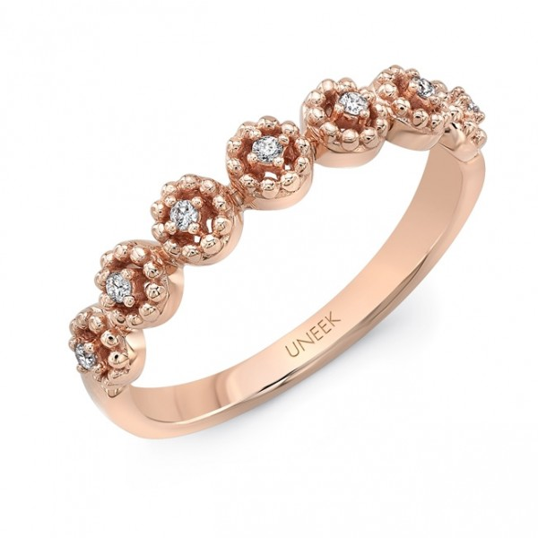 "Uneek ""Beverly"" Stackable Diamond Band in 14K Rose Gold"