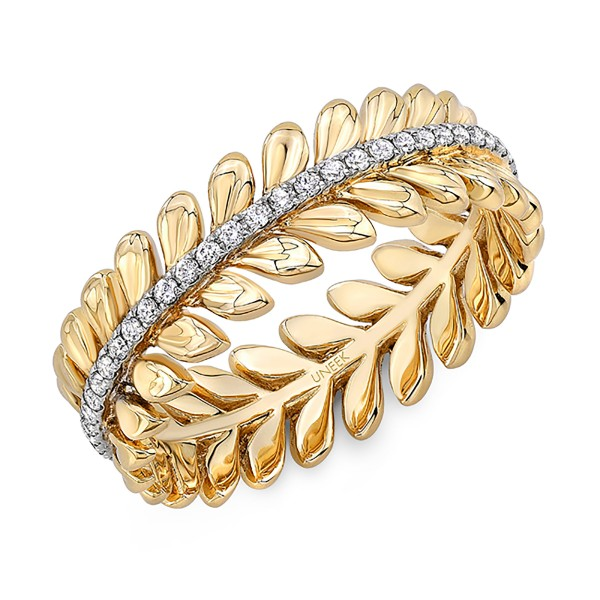 "Uneek ""Venice"" Stackable Diamond Band in 14K Yellow Gold"