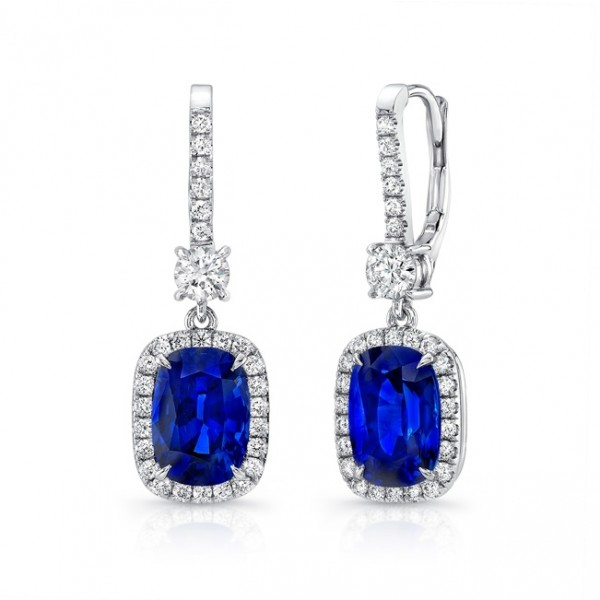 Uneek Cushion-Cut Blue Sapphire Dangle Earrings with Pave Diamond Halos, in 18K White Gold