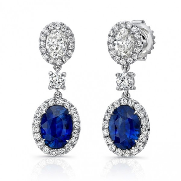 Uneek Oval Blue Sapphire and Oval Diamond Dangle Earrings, in 18K White Gold