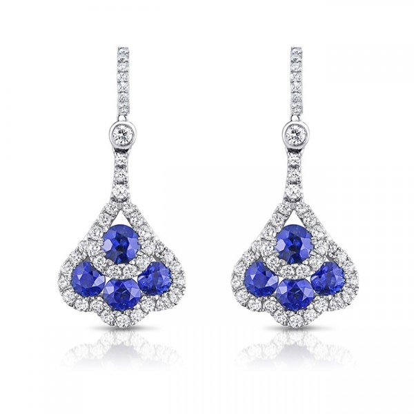 Uneek Round Blue Sapphire and Diamond Chandelier-Style Drop Earrings, in 18K White Gold