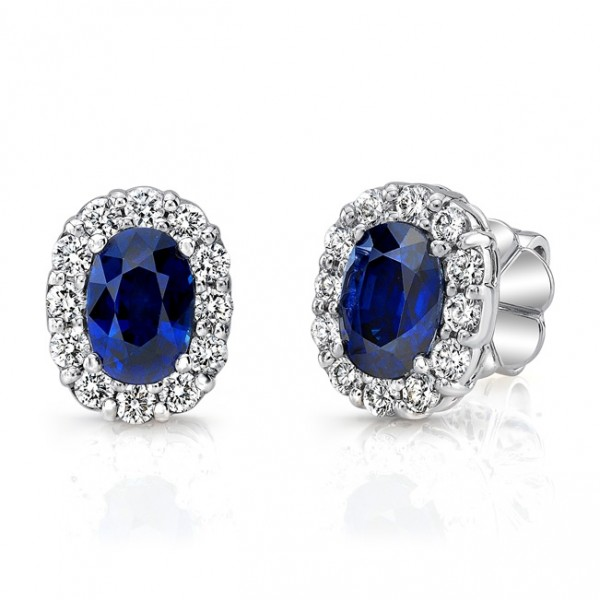 Uneek Oval Blue Sapphire Stud Earrings with Scalloped Diamond Halos, in 18K White Gold