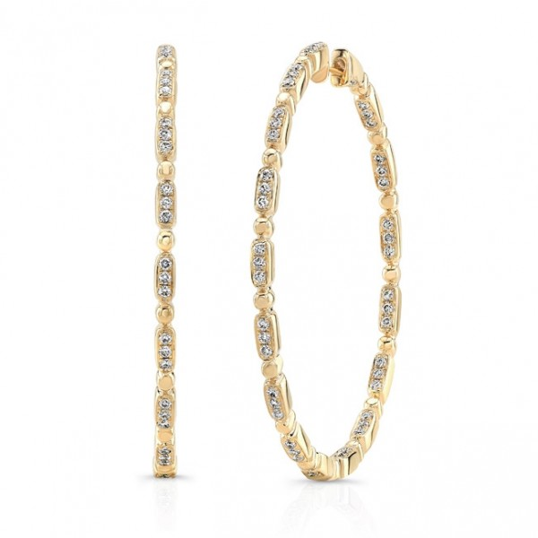 "Uneek ""Rodeo"" Inside-Out Diamond Hoop Earrings in 18K Yellow Gold"